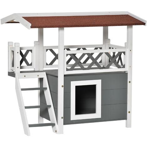 PawHut® Katzenhaus 2-stöckig Katzenhütte Katzenvilla Asphaltdach Balkon Massivholz Weiß