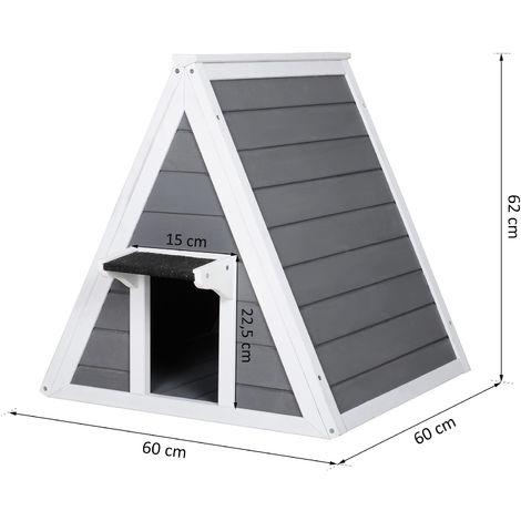 PawHut® Katzenhaus Dreieck Holzhaus für Katzen Katzenhöhle 2 Türe Massivholz Grau
