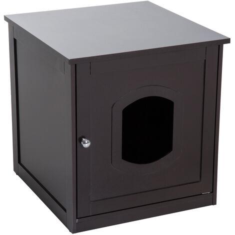 PawHut® Katzenhaus für Katzenbett, Katzentoilette Katzenschrank Katzenklo MDF Braun