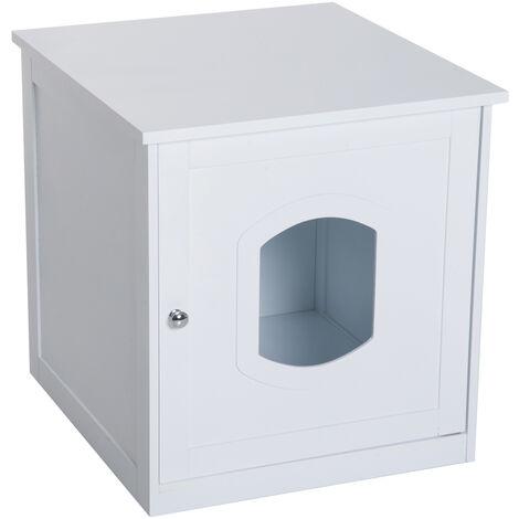 PawHut® Katzenhaus für Katzenbett, Katzentoilette Katzenschrank Katzenklo MDF Weiß