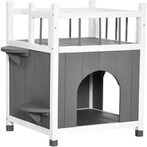 PawHut® Katzenhaus mit Balkon Katzenhütte Katzenhöhle 2 Türen 2 Plattformen Massivholz - grau/weiß