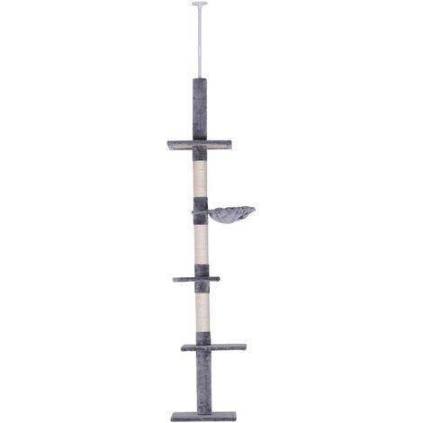 PawHut® Katzenkratzturm Kratzbaum höhenverstellbar Kletterbaum Spielbaum deckenhoch Holz+Sisal+Plüsch Grau 40x30x(230–260) cm