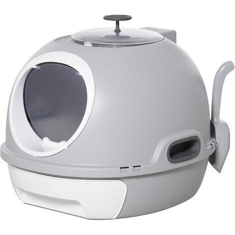 PawHut® Katzentoilette Katzenklo Dachfenster Bodenschale Schaufel Tragbar Grau - grau