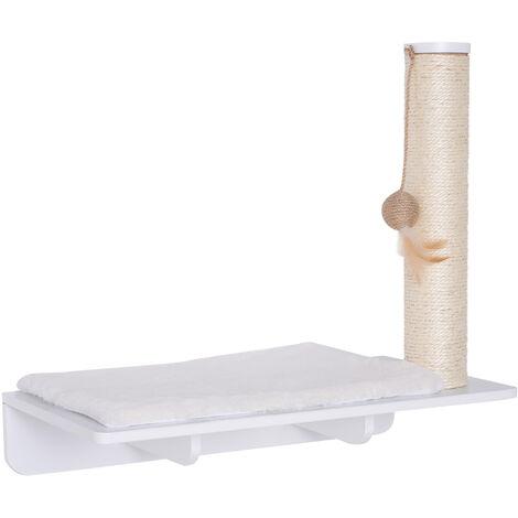 PawHut® Kratzbaum Katzenbaum Katzenliege Katzenregal Wandmontage Plüschauflage MDF Weiß 55 x 30 x 50 cm - weiß