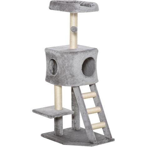PawHut® Kratzbaum Katzenbaum mit Katzenhöhle Leiter Weichkissen E1 MDF Sisal Hellgrau - hellgrau
