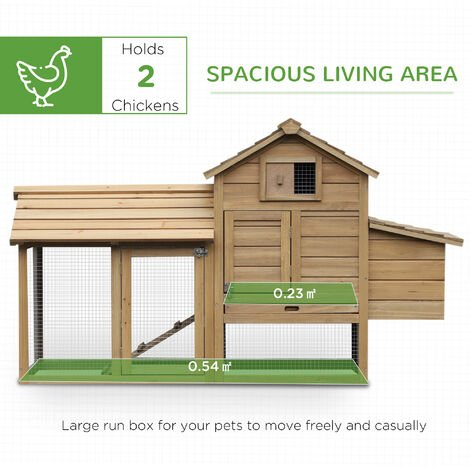PawHut Large Chicken Coop Hen Poultry Hutch Nesting Box w/ Outdoor Run 87x150cm