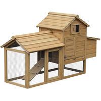 PawHut Large Chicken Coop Hen Poultry Hutch Nesting Box w/ Outdoor Run 87x150cm