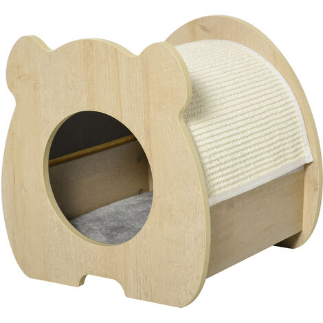 PawHut Large Cute Cat Bed House Kitten Bed Pet Furniture w/ Cushion Scratching Pad