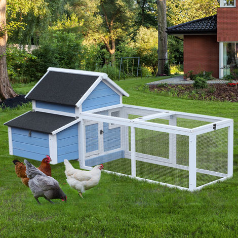 Pawhut Large Deluxe Chicken Coop Hen House Poultry W Run Box Blue 71