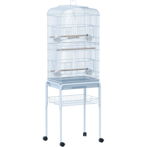 PawHut Large Metal Bird Cage w/ Breeding Stand Feeding Tray w/ Wheels 47.5L x 37W x 160H (cm) Light Blue