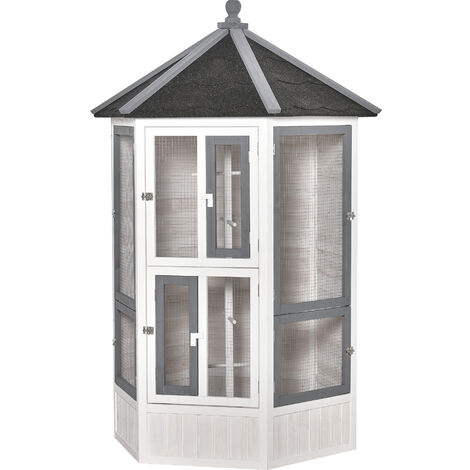 """main image of """"PawHut Large Wooden Bird Cage Aviary House for Budgie Canary Cockatiel Parrot Playing Zone with Perch Indoor Outdoor 125 x 125 x 183cm"""""""