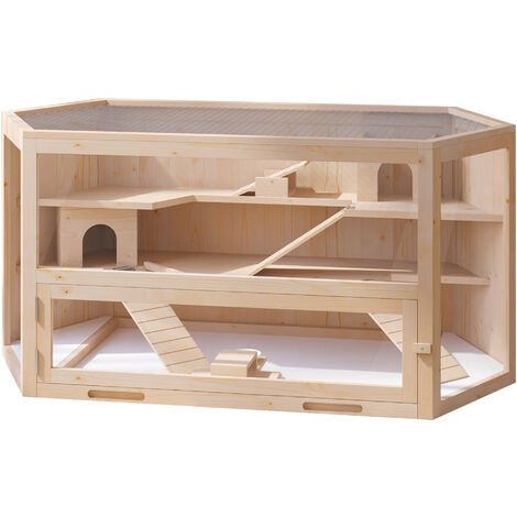 PawHut Large Wooden Hamster Cage Pet Small Animal Kit Box Double Layers