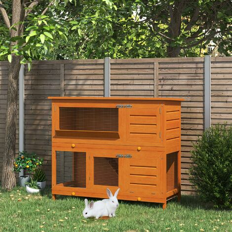 PawHut 48-Inch Large Wooden Pet Rabbit Hutch and Run Hutches Cage Guinea Pig Ferret House Home Double Decker