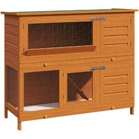 Pawhut Large Wooden Pet Rabbit Hutch and Run Hutches Cage Guinea Pig Ferret House Home Double Decker