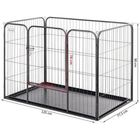 PawHut® Laufstall für Haustier Laufgitter Freigehege mit Bodenschale mit Tür Metall Grau 125 x 77,5 x 90 cm