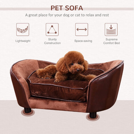 PawHut Luxury Pet Sofa Dog Bed Chair Puppy Cat Kitten Soft Mat Home Indoor Couch House w/ Cushion Coffee