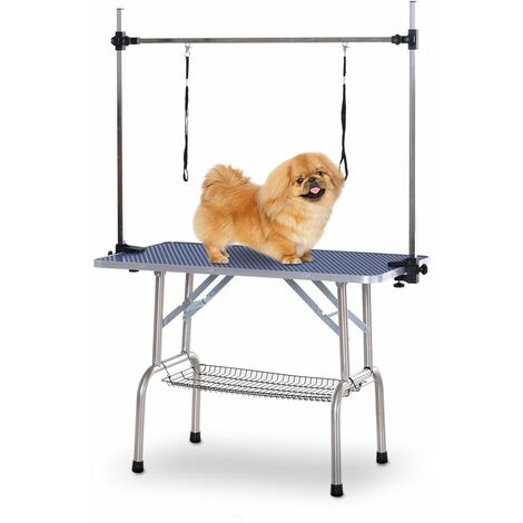 PawHut Mesa de Aseo para Mascotas Diseño Plegable Altura Ajustable Carga Max 100kg