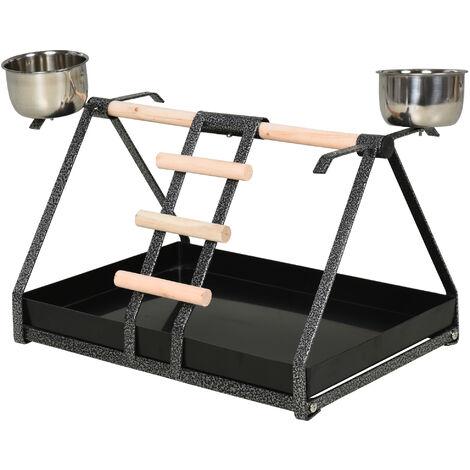 PawHut Metal Bird Stand w/ Wood Perch 2 Feeding Bowls Ladder Parrot Lightweight