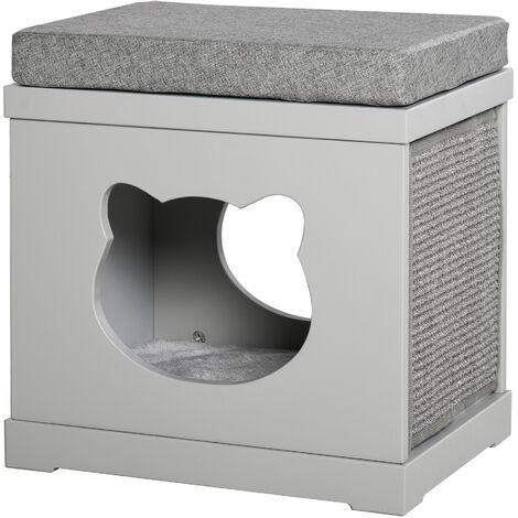 PawHut Modern Cat Kitten House w/ Cushion Bed Scratching Pad Pet Furniture Grey