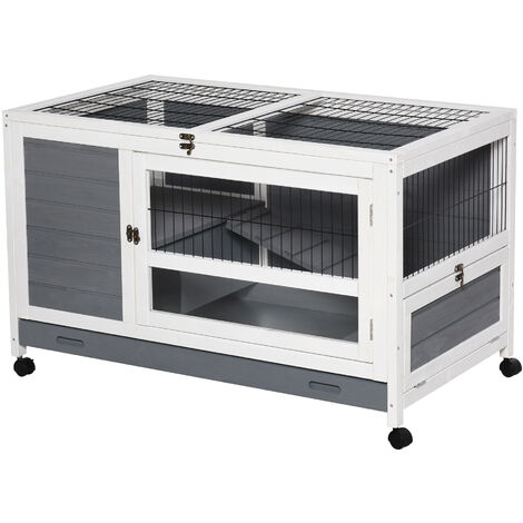 PawHut Moving Wooden Rabbit House Small Pets House Hutch Cage w/ Wheels Grey