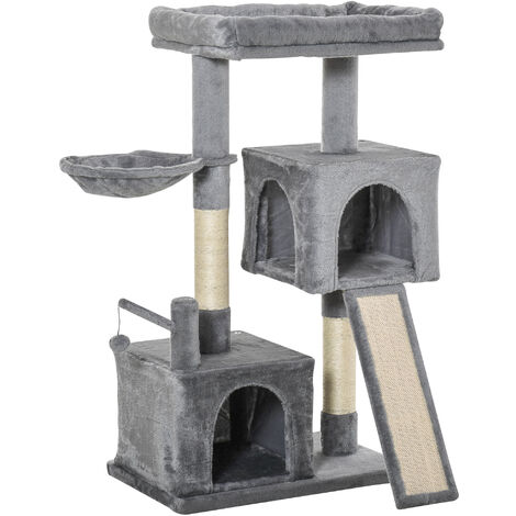 PawHut Multi-Activity Cat Tree Tower Activity Centre w/ House Hammock Ladder