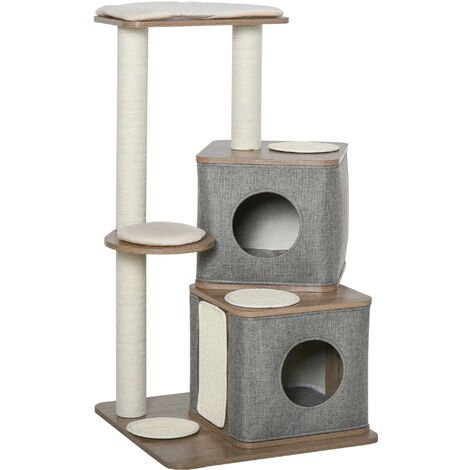 PawHut Multi-Level Cat Kitten Tree Tower Activity Center Climbing Frame