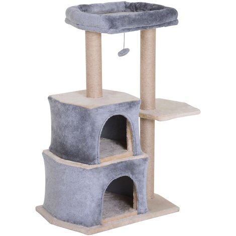 PawHut Multi-Level Cat Kitten Tree w/ Sisal Scratching Post Hut Perch Ball Grey