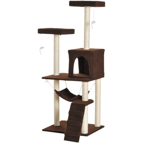 Pawhut Multi Level Cat Tree Scratcher Condo House Kitty Scratching Post Hammock Toy Brown P 385786 9746095 1 Jpg