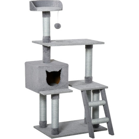 PawHut Multi-Level Cat Tree Tower Activity Center Climbing Frame Kitten Grey