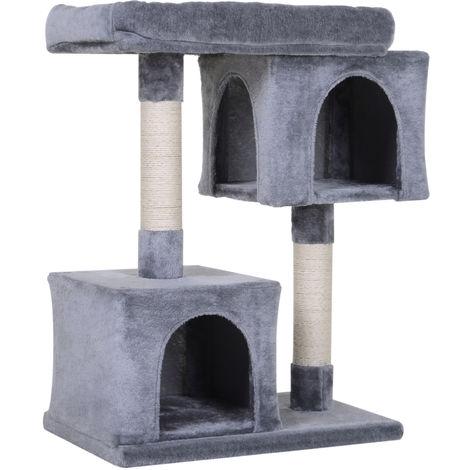 PawHut Multi-Level Cat Tree Two Huts Top Perch Sisal Scratching Posts Grey