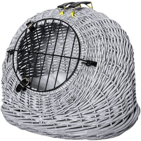 PawHut Natural Wicker Cat Basket w/ Fleece Cushion Mat Handle 2 Handles Grey