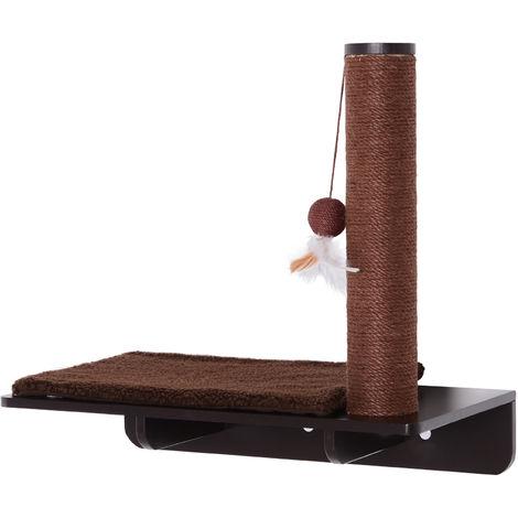 PawHut On-Wall Cat Shelf w/ Scratch Post Play Ball Fleece Mat Brown