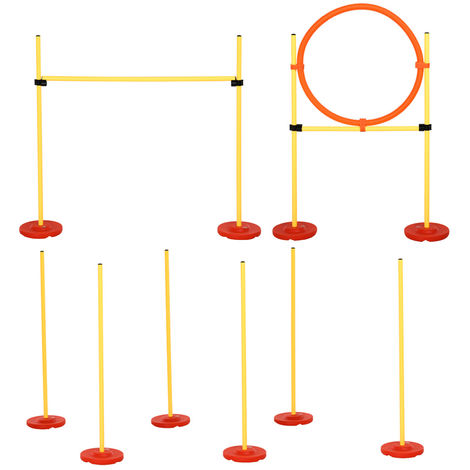 PawHut Outdoor 3 PC Dog Agility Training Set w/ High Jump Ring Obstacle Poles