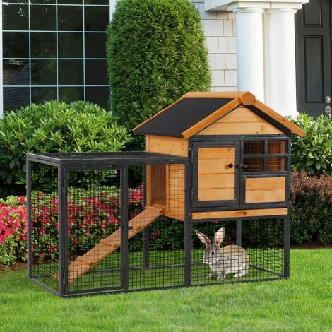 PawHut Outdoor Wood House & Metal Run Rabbit Hutch Elevated Pet w/ Ramp