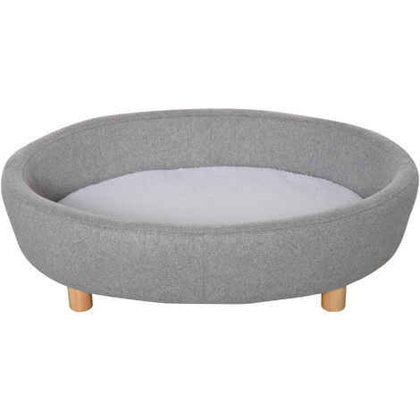 PawHut Oval Tub Fabric Pet Sofa Soft w/ High Back Wood Legs Sponge Bed Grey