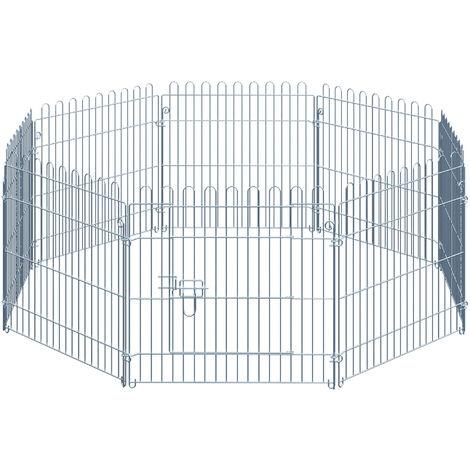 PawHut Parque Jaula Mascota Corral 8 Vallas para Perro Entrenamiento con Puerta 63x60 cm