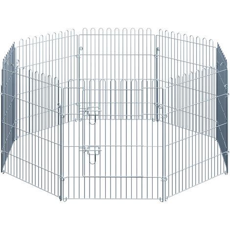 PawHut Parque Jaula Mascota Corral 8 Vallas para Perro Entrenamiento con Puerta 63x76 cm