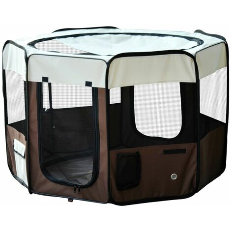 PawHut Parque Mascotas 116x116x71cm Juego Entrenamiento Dormitorio Perro Gato Cachorros
