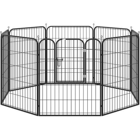 PawHut Parque para Mascotas 8 Vallas 79x100 cm Corral Plegable Puerta y Doble Pestillo - Negro