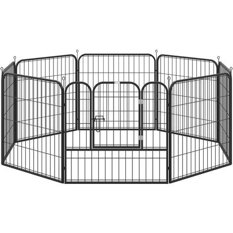 PawHut Parque para Mascotas 8 Vallas 79x79 cm Corral Plegable Puerta y Doble Pestillo - Negro
