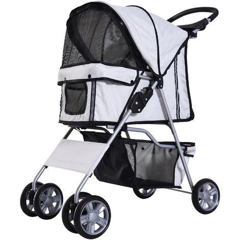 Carrito para mascotas Pet Stroller Hundebuggy gris para empujar Roadster pro.tec con cesta para guardar objetos impermeable