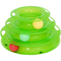 PawHut PET 3-level Tower Tracks for Cats Interactive Toy Kitty Disc Eco-friendly - Green