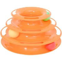 PawHut PET 3-level Tower Tracks for Cats Interactive Toy Kitty Disc Eco-friendly - Orange