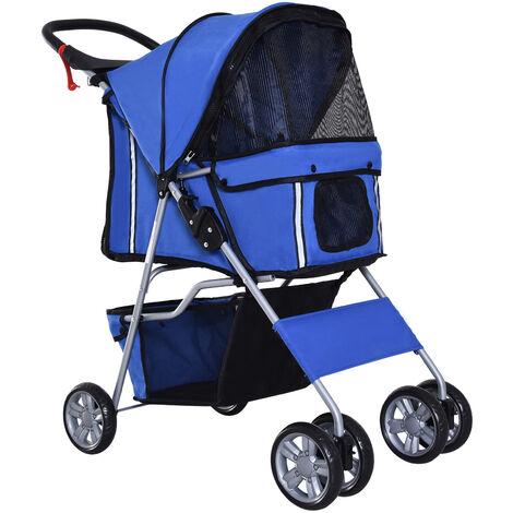PawHut Pet 4 Wheels Travel Stroller Dog Cat Pushchair Trolley Puppy Jogger Folding Carrier