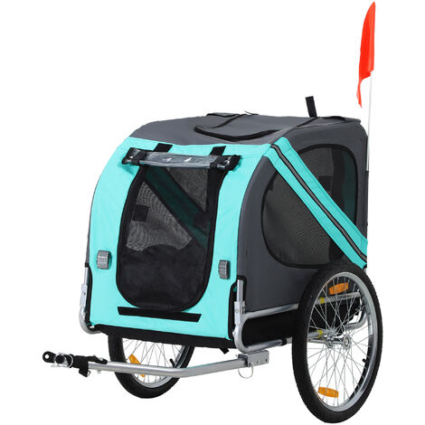 PawHut Pet Bicycle Trailer Dog Cat Bike Carrier Outdoor Water Resistant Green