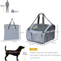 PawHut Pet Carrier Folding Bag Car Seat Cat Dog Puppy Kennel Portable Travel Cage Tote Case Mesh Holder House Grey