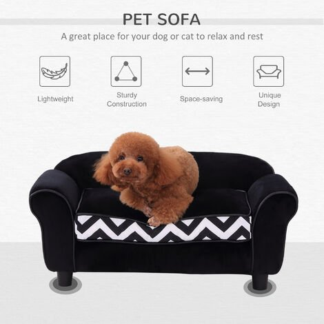 PawHut Pet Couch Dog Cat Wooden Sofa Bed Lounge Luxury w/Cushion - Black