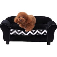 PawHut Pet Couch Dog Cat Wooden Sofa Bed Lounge Luxury w/Cushion - Black