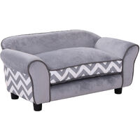 PawHut Pet Couch Dog Cat Wooden Sofa Bed Lounge Luxury w/Cushion - Grey