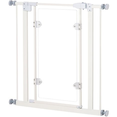 PawHut Pet Safety Gate Small Auto Close w/ Adjustable Screws Acrylic White